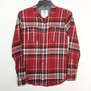 On The Byas S Flannel Plaid Red Shirt Button Front